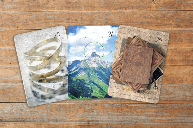 Deutung der LenormandkartenKombination Ring, Berg und Buch
