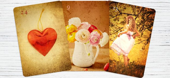 Lenormandkarten Herz Blumen Kind Kombination
