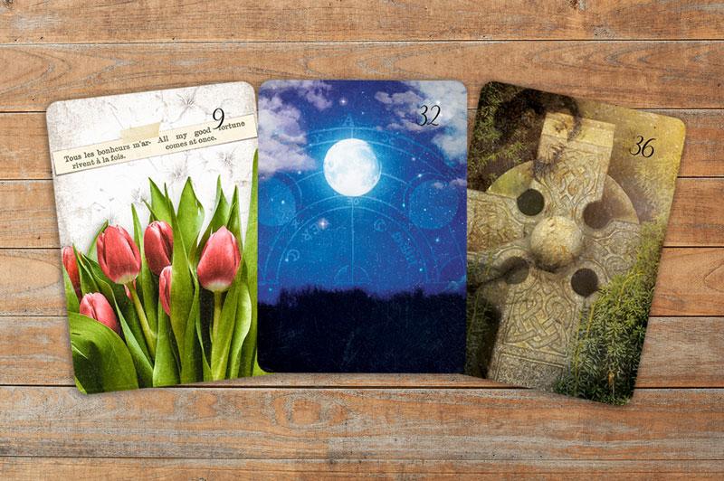 Deutung der Lenormandkarten Kombination Blumen, Mond und Kreuz