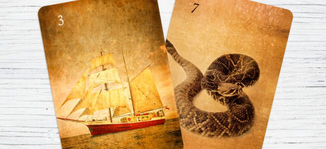 Lenormand Kombination Schlange und Schiff