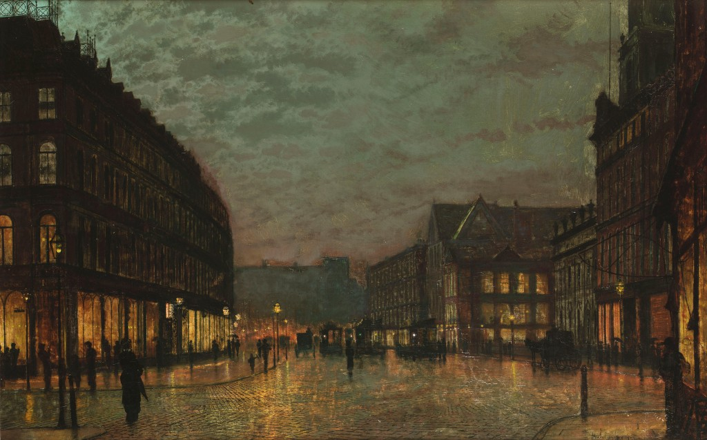 John Atkinson Grimshaw – Boar Lane Leeds by lamplight 1881