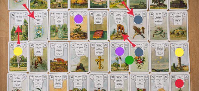 Lenormandkarten Beziehung Große Tafel