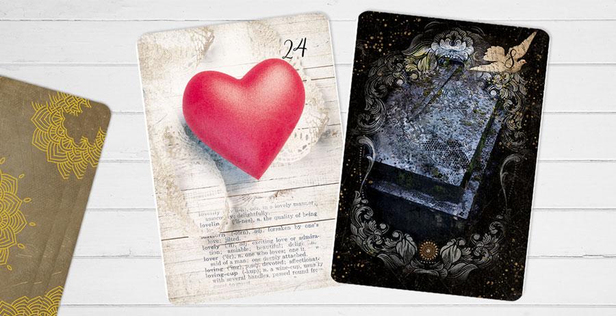Kombination Herz und Sarg plus eine weitere Lenormandkarte zum Thema Liebe