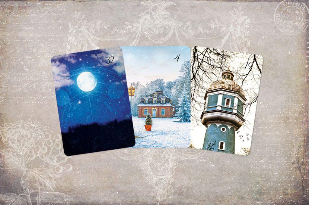 Die Dreier Kombination Mond, Haus und Turm in den Lenormandkarten