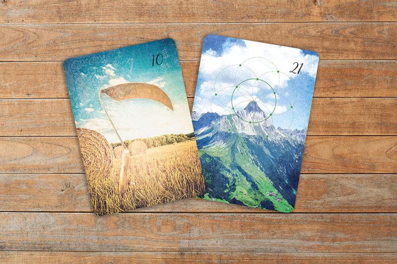 Lenormandkarten Sense und Berg aus dem Lichtblick Lenormand Kartendeck