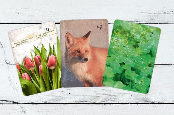 Blumen, Fuchs, Klee Lenormandkarten