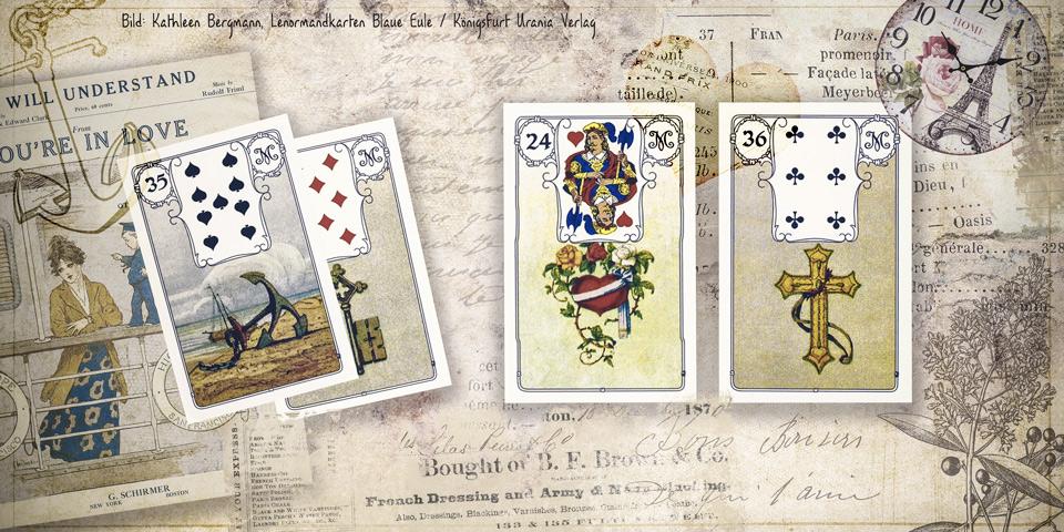 Professionelle Deutung der Lenormandkarten-Kombination Herz und Kreuz mit einer dritten Karte