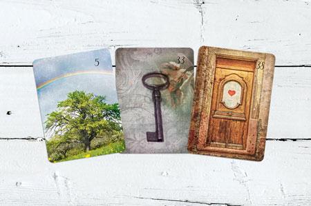 Baum, Schlüssel, Tür Lenormandkarten