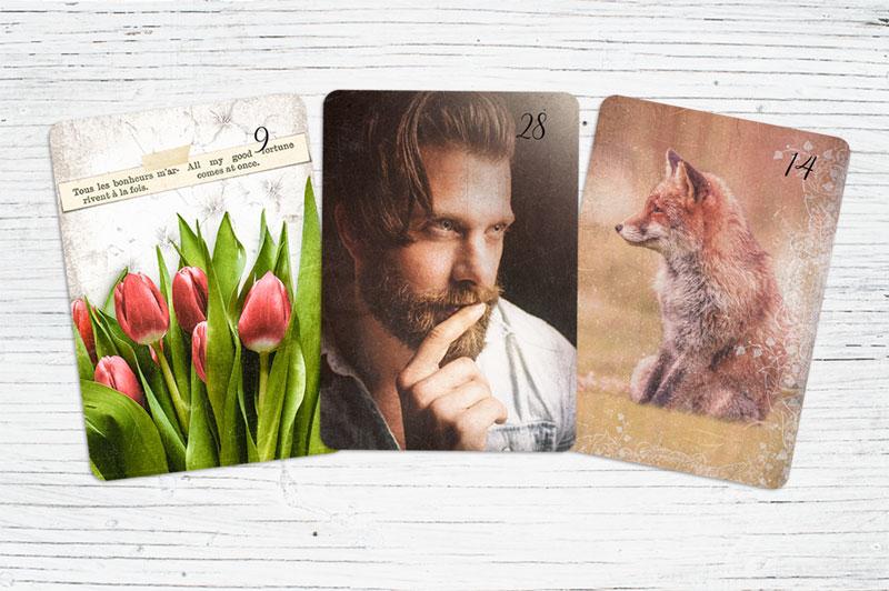 Lenormandkarten Blumen, Herr, Fuchs