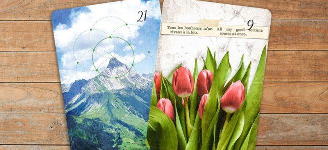Lenormandkarten Kombination Berg und Blumen