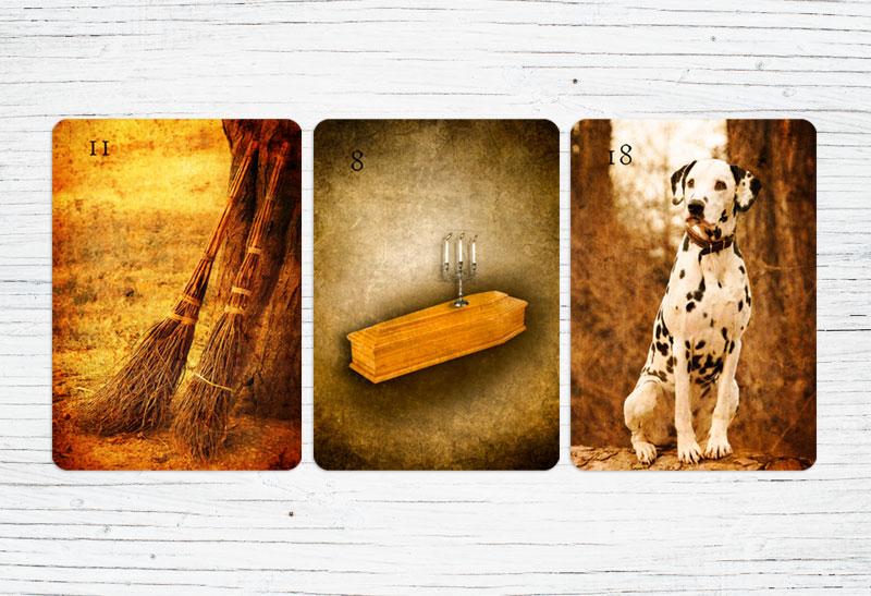 Deutung der Lenormandkarten Kombination Ruten, Sarg und Hund