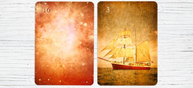 Deutung der Lenormandkarten Kombination Sterne und Schiff