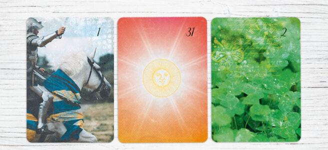 Deutung Lenormandkarten Reiter Sonne Klee